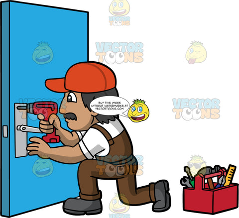 A Male Locksmith Fixing A Broken Lock With A Drill. A man wearing brown overalls over a white t-shirt, an orange hat, and dark gray work boots, kneeling down and fixing a lock on a blue door with a red drill. On the floor beside him is a toolbox filled with various tools
