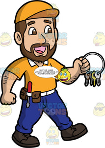 A Happy Locksmith Holding A Bunch Of Keys. A man with brown hair and a beard, wearing blue pants, a tool belt around his waist, a yellow shirt, a yellow hat, and black work boots, walking and holding a ring with several keys on it