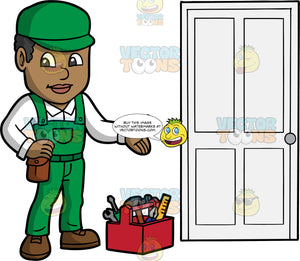 A Male Locksmith Standing Next To A Door He Just Fixed. A black man wearing green overalls over a white shirt, a green hat, and brown work boots, standing next to a toolbox filled with various tools, and a door he fixed