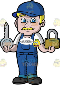 A Male Locksmith Holding A Big Lock And Key. A man with blonde hair and blue eyes, wearing blue overall over a white t-shirt, a blue hat, and black work boots, standing and holding a big silver key in one hand, and a bit lock in the other