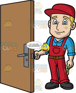 A Male Locksmith Testing To See If A Door Lock Is Working. A man with dirty blonde hair and blue eyes, wearing red overalls over a blue shirt, a brown belt, a red hat, and black work boots, opening a door to make sure he fixed the lock