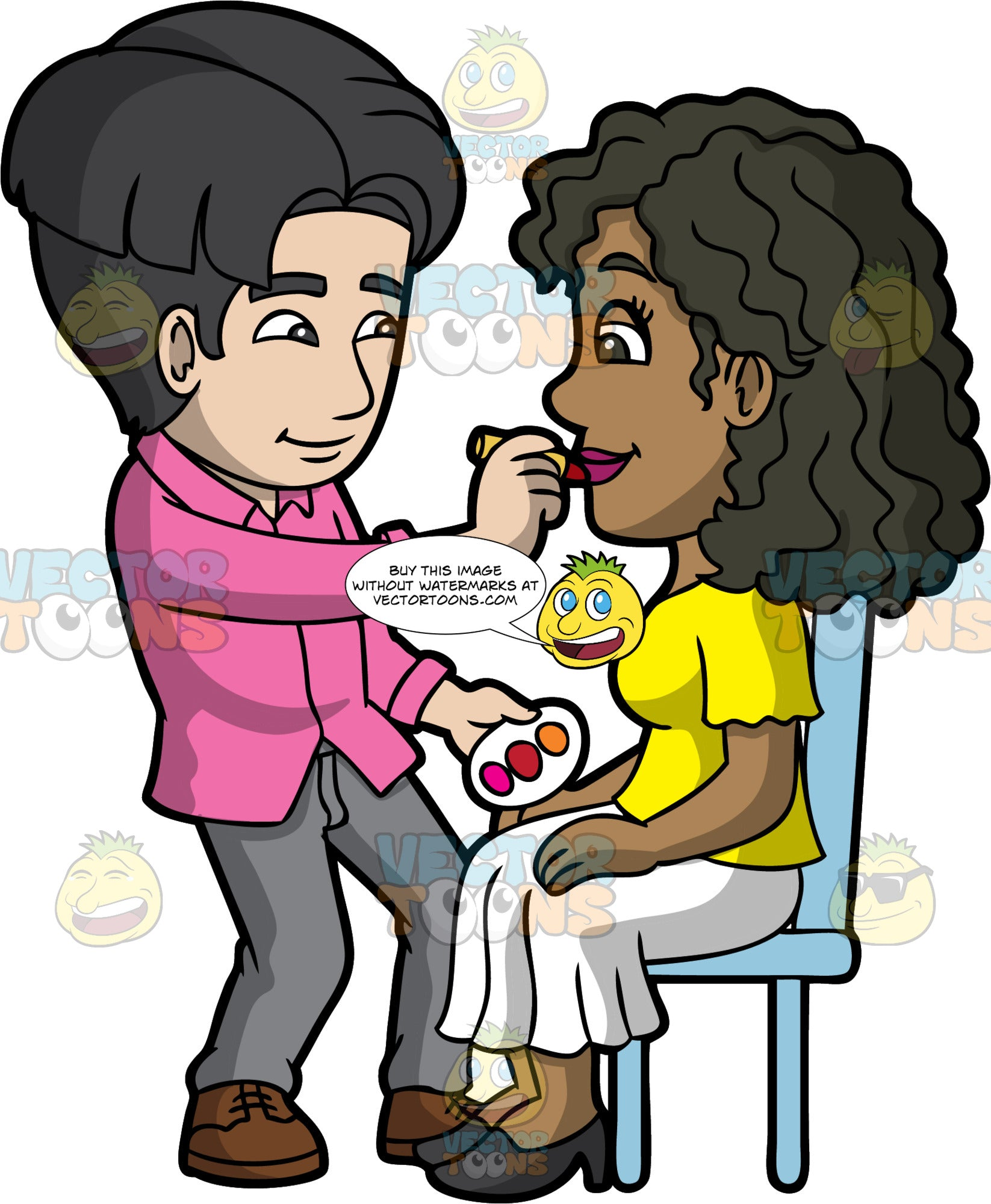 A Male Makeup Artist Applying Lip Color To A Black Woman. A male makeup artist with black hair, wearing a pink button up shirt, gray pants, brown shoes, smiles while applying red lipstick on a black woman with curly hair, wearing a yellow blouse, white skirt, black heels, sitting on a light blue chair