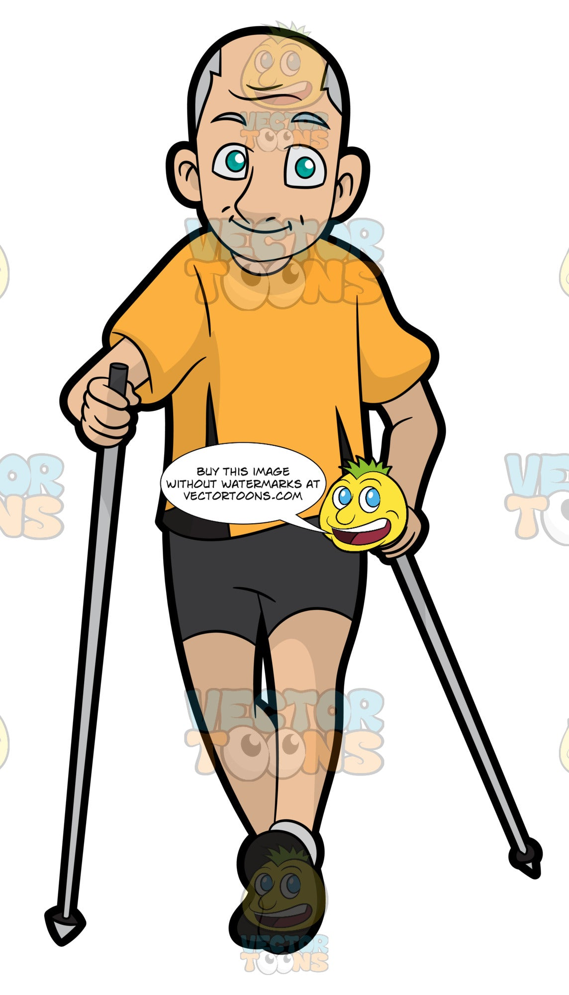 An Elderly Man Walking With Walking Poles