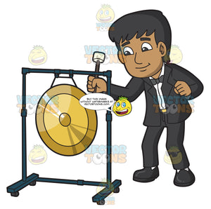 A Man Playing An Orchestral Gong