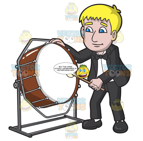 A Man Playing A Bass Drum