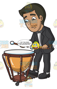 A Man Playing A Timpani