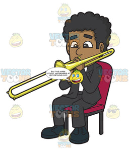 A Black Man Playing A Trombone