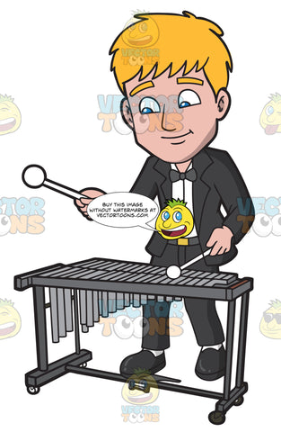 A Man Playing A Glockenspiel In An Orchestra Concerto