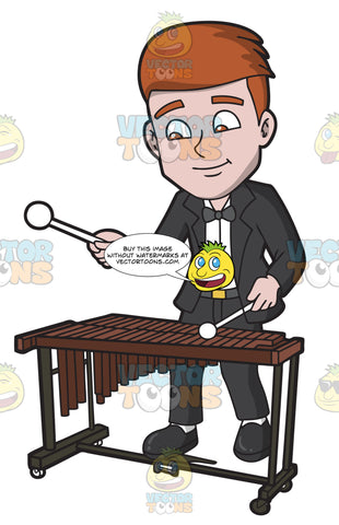 A Man Playing A Xylophone In An Orchestra Concerto