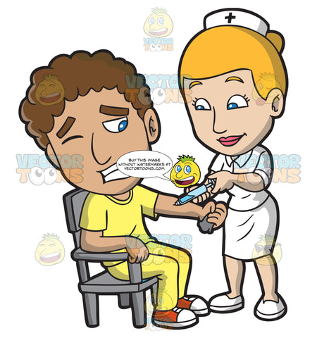 A Male Patient Getting A Vaccine