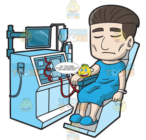 A Male Patient Undergoing A Dialysis Treatment