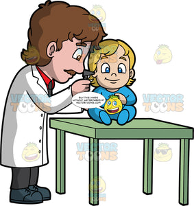 A Male Pediatrician Checking The Ears Of A Toddler. A male pediatrician with brown hair and mustache, wearing a red dress shirt, black necktie, white coat, black pants, dark teal shoes, smiles while checking the ears of a blonde toddler wearing a blue onesie, who is sitting on a green table, using a gray apparatus