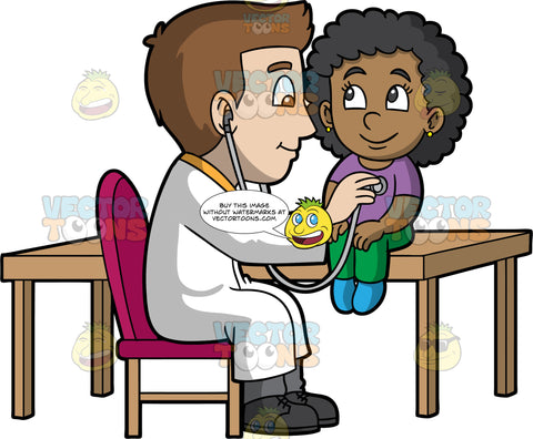 A Male Pediatrician Listening To His Patients Heart. A male pediatrician with brown hair, wearing a white coat, yellow dress shirt, gray pants, black shoes, smiles while sitting on a fuchsia padded chair with wooden legs, as he checks the heartbeat and breathing of a black girl with curly hair, wearing a purple shirt, green pants, blue socks, who is sitting on top of the wooden table, using a gray stethoscope