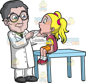 A Senior Male Pediatrician Checking The Temperature Of A Girl. A male pediatrician with gray hair, wearing eyeglasses, white coat, pants, green dress shirt, black necktie, dark gray shoes, smiles while taking the mouth temperature of a blonde girl, wearing a pink shirt, orange shorts, white socks, red shoes, who is sitting on top of a light blue table, using a white mouth thermometer in his right hand