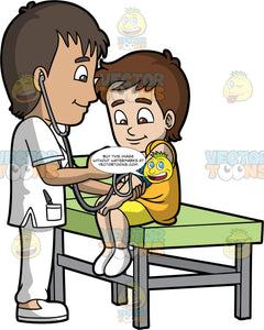 A Male Pediatrician Checking The Blood Pressure Of A Boy. A male pediatrician with dark brown hair, wearing a white scrub suit, shoes, smiles while checking the blood pressure of a boy with brown hair, wearing a yellow orange tank top, yellow shorts, white socks who is sitting on top of a green table with gray legs
