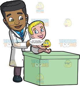 A Male Pediatrician Checking Listening To A Baby Boys Heartbeat. A black male pediatrician wearing a white coat, blue dress shirt, necktie, brown pants, dark teal shoes, smiles while checking the breathing of a male toddler wearing a diaper, who is sitting on top of a green desk, using a stethoscope