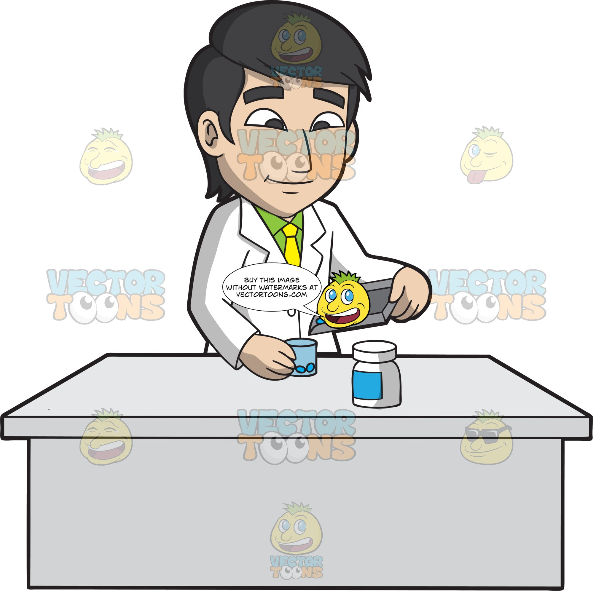 A Male Pharmacist Filling A Medicine Container