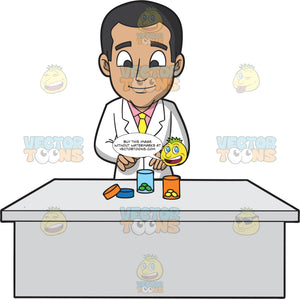 A Male Pharmacist Transferring Medicine Tablets