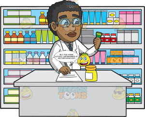 A Male Pharmacist Filling A Prescription