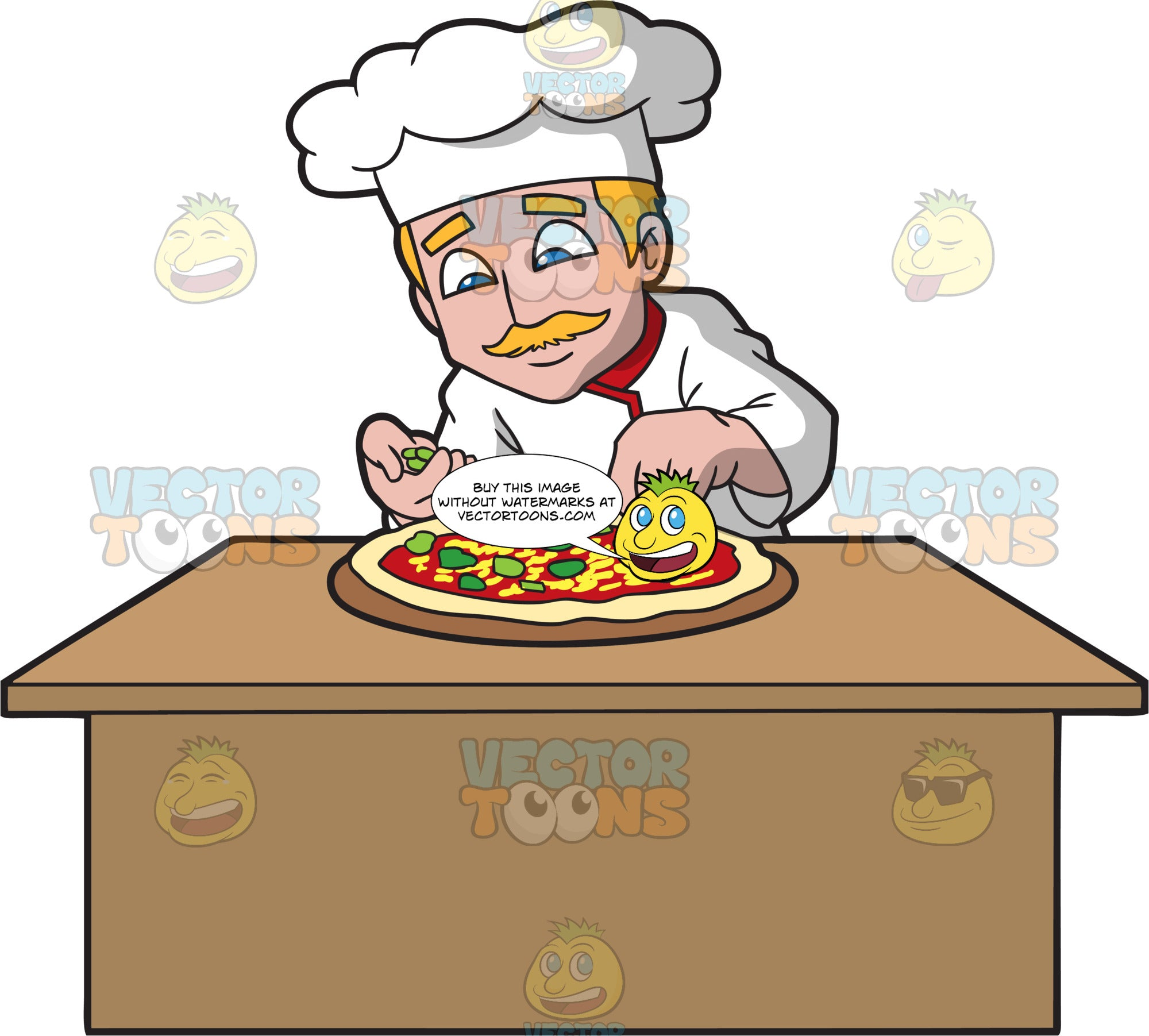 A Male Pizza Maker Putting Toppings On A Pizza