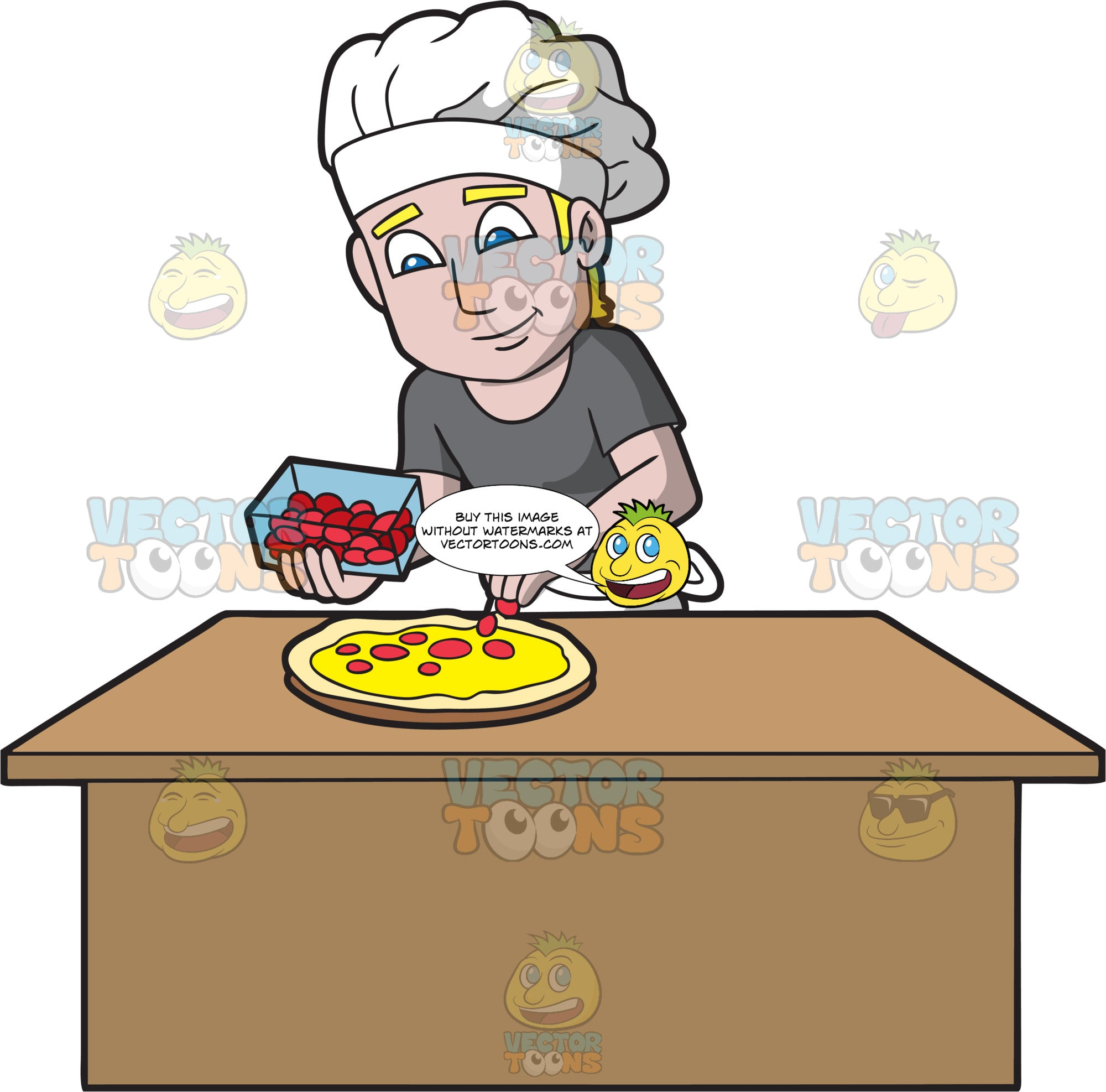 A Male Pizza Maker Adding Pepperoni Slices To A Pizza