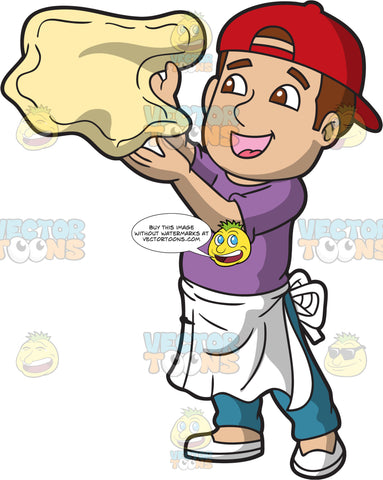 A Happy Pizza Maker Tossing Up A Piece Of Dough