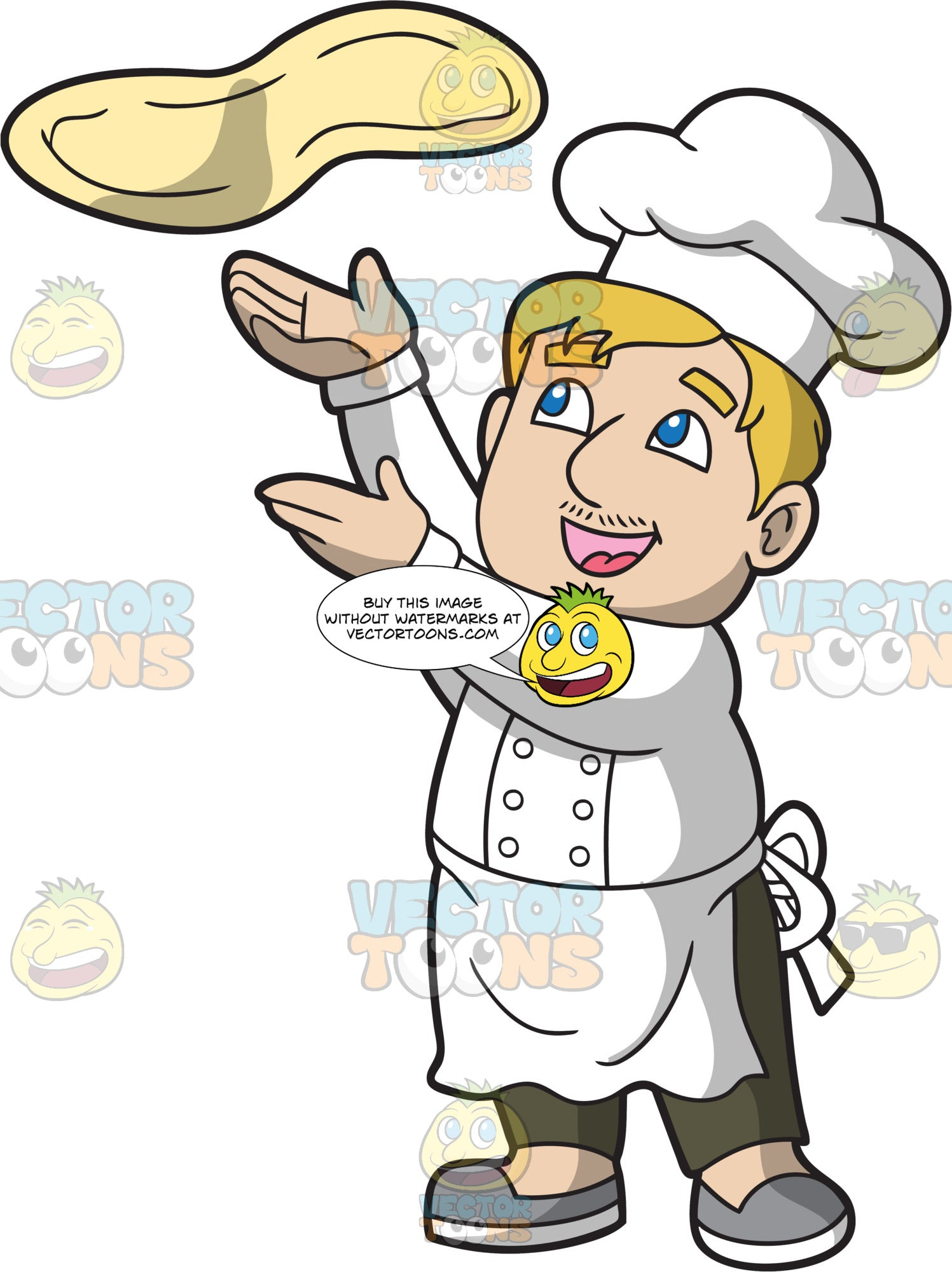 A Male Pizza Maker Tossing Dough In The Air