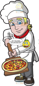 A Happy Pizza Maker Carrying A Freshly Baked Pizza With A Wooden Paddle