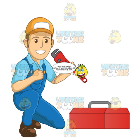 Male Plumber Holding Up A Wrench While Kneeling