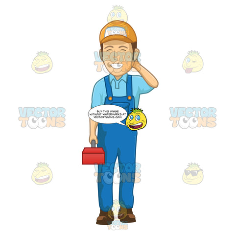 Male Plumber Smiling With His Eyes Closed