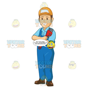 Male Plumber Standing With His Arms Crossed Holding A Wrench