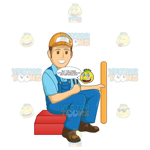 Male Plumber Holding A Pipe And A Wrench While Sitting On His Tool Box