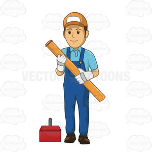 Male Plumber Holding Large Piece Of Pipe
