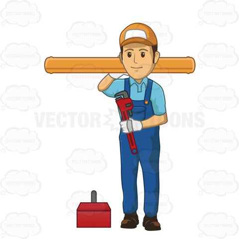 Male Plumber Holding Large Piece Of Pipe In One Hand And A Wrench In The Other