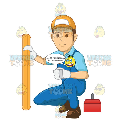 Male Plumber Kneeling Down To Fix A Pipe While Wearing Gloves