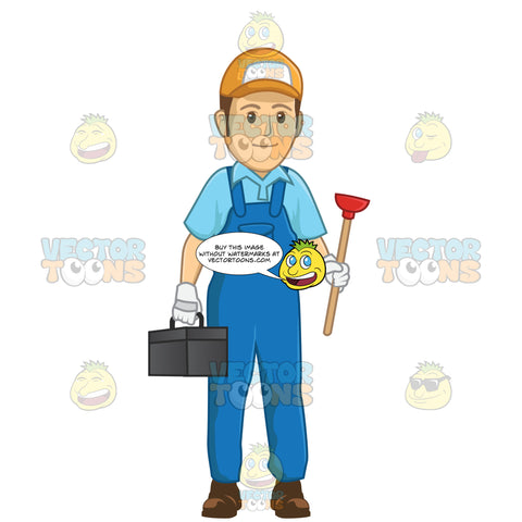 Male Plumber Holding A Plunger In One Hand And A Black Tool Box In The Other