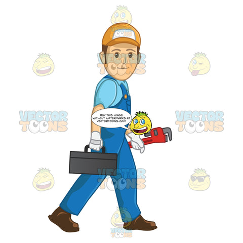 Male Plumber Carrying A Tool Box And A Wrench While Walking