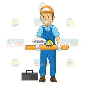 Male Plumber Holding A Large Pipe With Two Hands