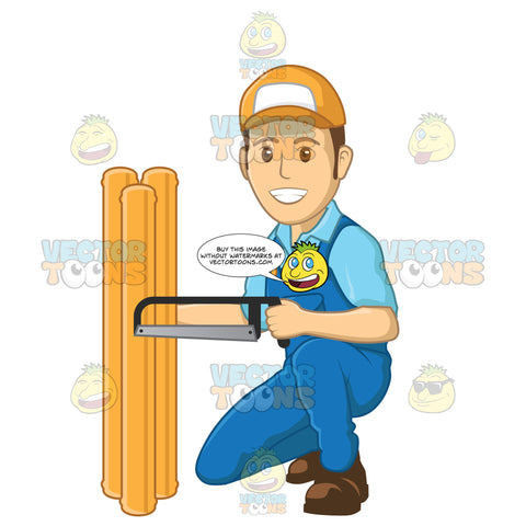 Male Plumber Kneeling Down And Using A Saw On Pipes