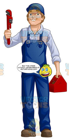 Male Plumber Standing Up And Holding A Wrench And Tool Box