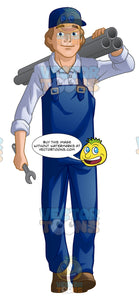 Male Plumber Carrying Pipes In One Hand Over The Shoulder And A Wrench In The Other Hand