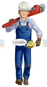 Male Plumber Carrying An Oversized Wrench