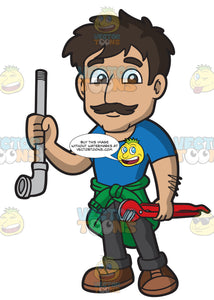 A Male Plumber Holding A Pipe And A Wrench