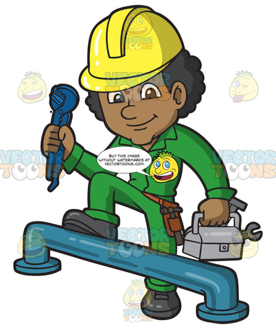 A Male Plumber Getting Ready To Fix A Big Pipe