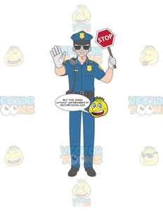 Male Police Officer Holding A Stop Sign