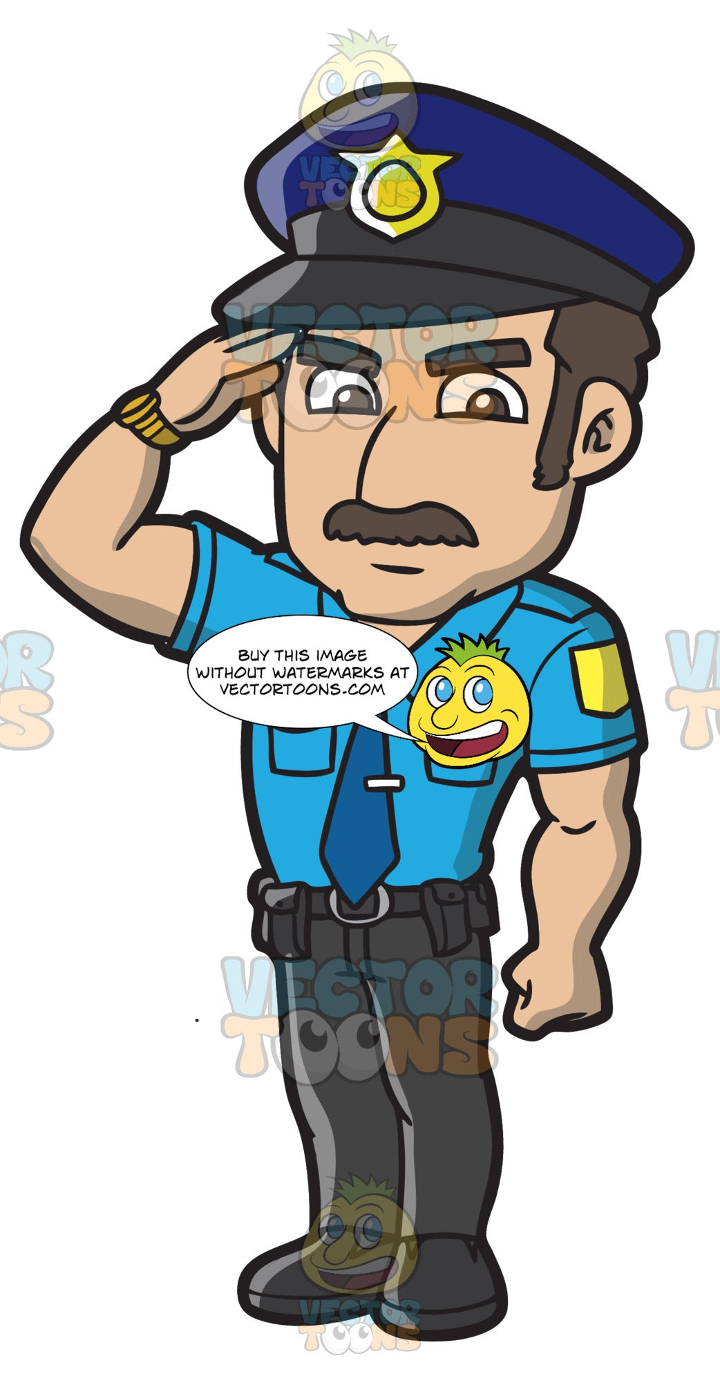A Police Officer Salutes A Higher Authority
