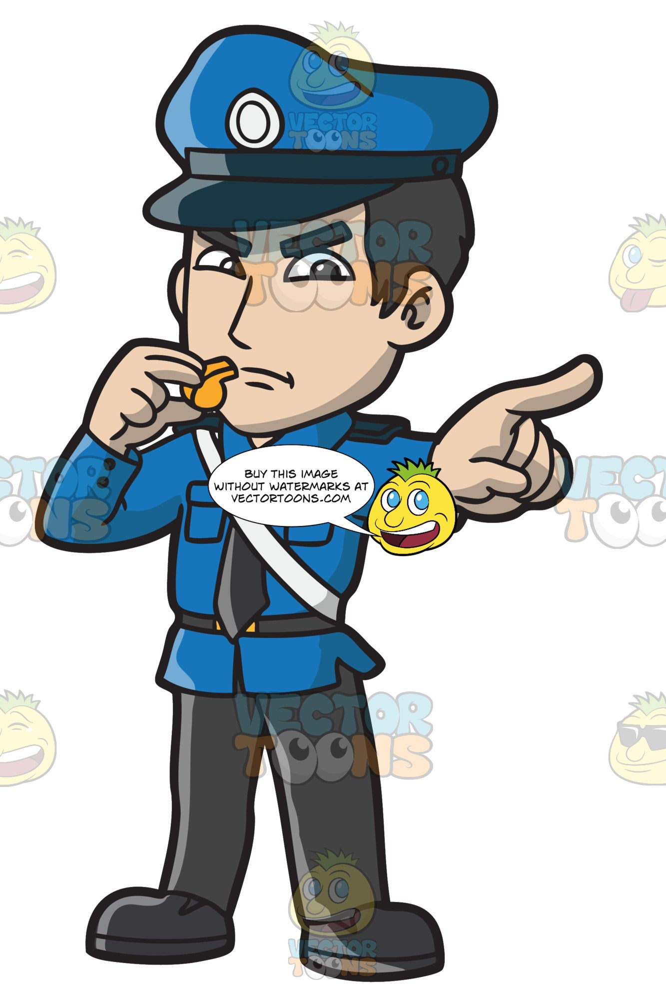 An Angry Police Officer With A Whistle