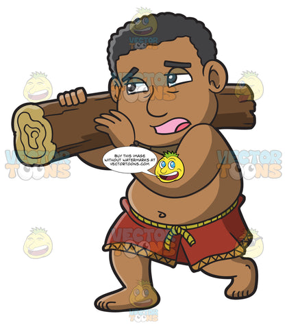 A Male Polynesian Slave Carrying A Log
