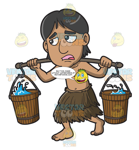 A Male Polynesian Slave Carrying Buckets Of Water