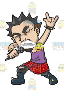 A Punk Rock Star Wearing A Kilt